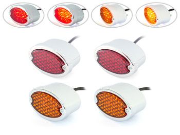 Chrome Motorbike LED Stop Tail Lights Red Lens for Project Bike, Trike, Classic Car, Pick Up Truck, Van - Set of 4
