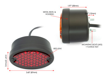 Black Motorbike LED Stop Tail Lights Red Lens for Project Bike, Trike, Classic Car, Pick Up Truck, Van - Set of 4