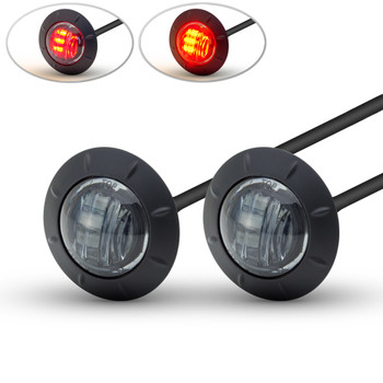 """PAIR OF 2"""" 50mm Cafe Racer Flush Mount LED Stop / Tail Lights with Smoked Lens"""