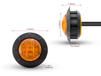 "Motorbike LED Running Lights / Indicators Turn Signals - 2"" 50mm - Amber Lens"