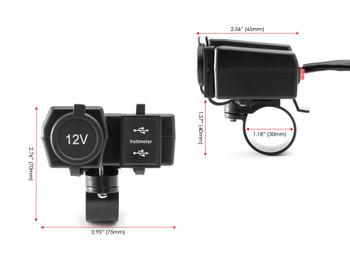 Motorbike 12V Socket + Twin USB + Voltmeter Power Supply for 22-25mm Handlebars