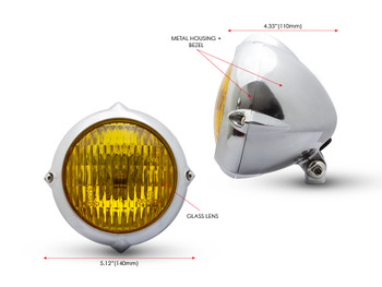 "5.5"" Headlight for Retro Custom Project - Polished with Yellow Lens"