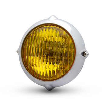 """5.5"""" Headlight for Retro Custom Project - Polished with Yellow Lens"""