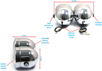 Chrome Streetfighter Headlight & Flyscreen Kit - Dominator Tracker Dual Twin