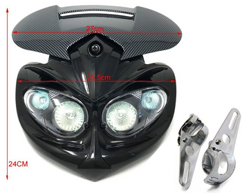 Motorbike Headlight & Brackets for Streetfighter Custom Project Bike Carbon Look