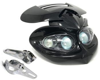 Motorbike Headlight & Brackets for Streetfighter Custom Project Bike - BLACK