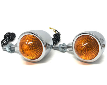 Motorbike Indicators Turn Signals Retro Classic Custom Bikes Trikes - Chrome Metal