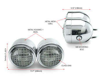 Motorbike Headlight Dominator Tracker Streetfighter Chrome Mesh Grill Dual Twin