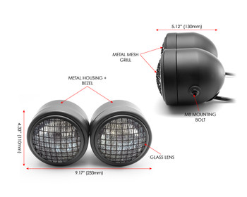 Motorbike Headlight Dominator Tracker Streetfighter Black Mesh Grill - Dual Twin