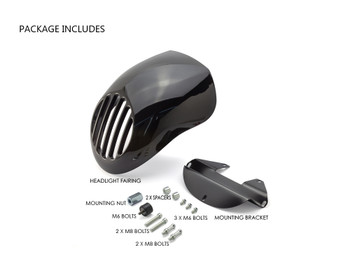 Motorbike Headlight Cowl Fairing for Harley Davidson Sportster & Dyna Models - Gloss Black