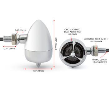 Chrome Steel Torpedo Style LED Motorbike Indicators