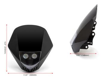 BLACK Motorbike Headlight Mask - LED 12V 10W - Project Streetfighter Supermoto