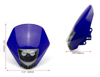BLUE Motorbike Headlight Mask - LED 12V 10W - Project Streetfighter Supermoto