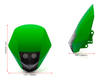 GREEN Motorbike Headlight Mask - LED 12V 35W - Project Streetfighter Supermoto