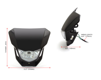 Motorbike Headlight Mask - Supermoto & Streetfighter - Black - 12V 35W
