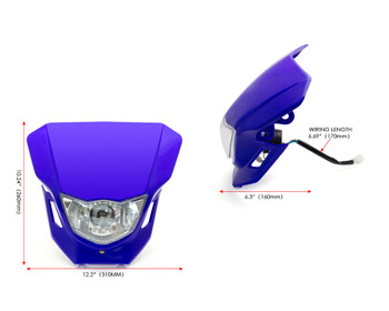 Motorbike Headlight Mask - Supermoto & Streetfighter - Blue - 12V 35W