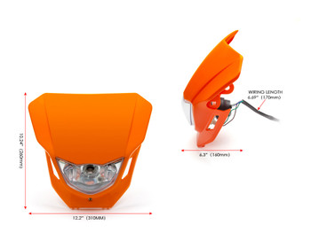 Motorbike Headlight Mask - Supermoto & Streetfighter - Orange - 12V 35W
