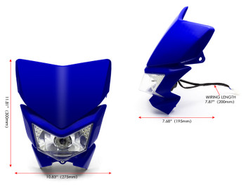 Motorbike Headlight Mask - Streetfighter & Supermoto - Blue - 12V 35W