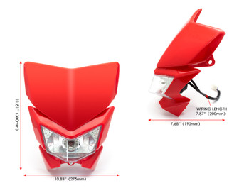Motorbike Headlight Mask - Streetfighter & Supermoto - Red - 12V 35W