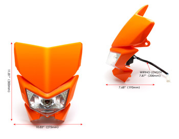 Motorbike Headlight Mask - Streetfighter & Supermoto - Orange - 12V 35W