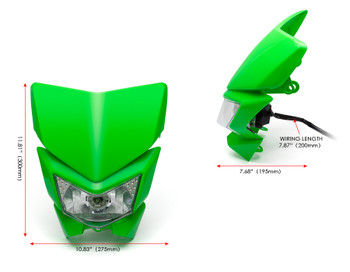 Motorbike Headlight Mask - Streetfighter & Supermoto - Green - 12V 35W