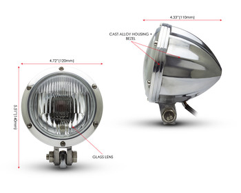 "Motorbike 4.75"" Headlight 12V 35W - Polished Alloy with Drilled Bezel for Bobber Style Retro Vintage Project Bike"
