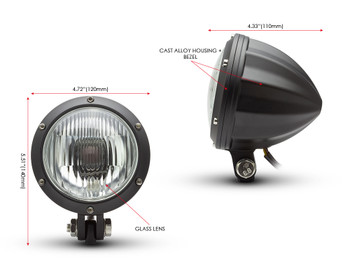 "Motorbike 4.75"" Headlight 12V 35W - Black Alloy with Drilled Bezel for Bobber Style Retro Vintage Project Bike"