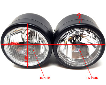 Motorbike Headlight Dominator Tracker Streetfighter Black Dual Twin HOMOLOGATED