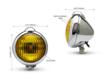 Motorbike Headlight Classic Custom Chrome - Yellow Lens - for Bobber Chopper Scrambler Cafe Racer - 12V 35W