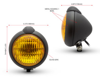 Motorbike Headlight Classic Custom Black - Yellow Lens - for Bobber Chopper Scrambler Cafe Racer - 12V 35W