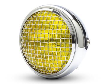 "7.7"" Motorbike Headlight - Chrome with Mesh Grill & Yellow Lens - H4 55W"