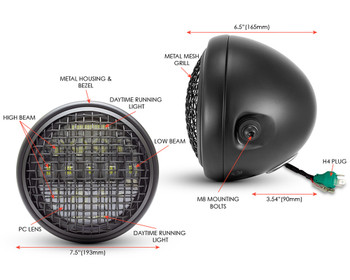 """Motorbike Headlight 7.5"""" Projector LED with Mesh Grill for Cafe Racer Retro Custom Project"""