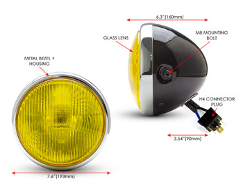 "7.7"" Motorbike Headlight - Gloss Black with Chrome Bezel & Yellow Lens for Scramblers & Cafe Racers"