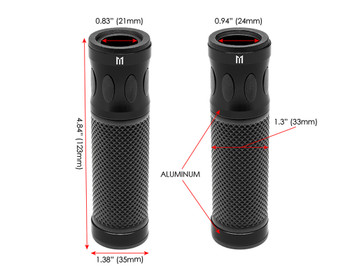 Black Motorbike Hand Grips for 22mm bars - Anodised Aluminium - High Quality