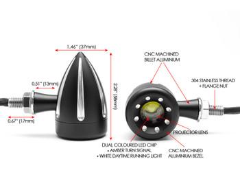 Motorbike Front LED Indicators with Driving Light DRL - Integrated - CNC Billet Aluminium - Contrast Cut