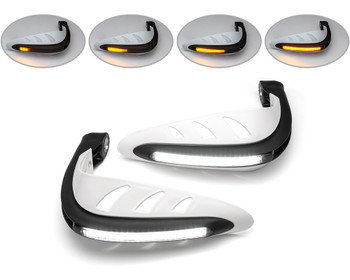 Motorbike Quad ATV Handguards - WHITE with LED Indicators & Daytime Running Lights