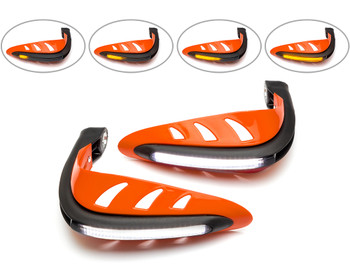 Motorbike Quad ATV Handguards - ORANGE with LED Indicators & BLUE Daytime Running Lights
