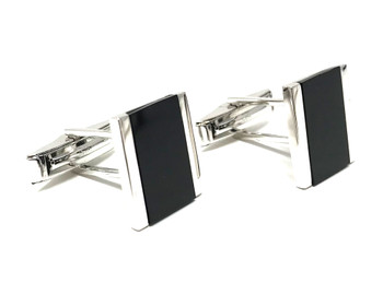 Sterling Silver Onyx Silver Lined Cufflinks