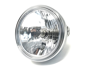 "Motorbike Headlight 12V 55W Chrome Steel 8"" Inch Retro Classic Old School Look"