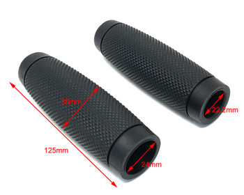 """Black Ribbed Hand Grips - Soft Touch for 22mm (7/8"""") Handlebars"""