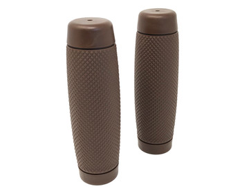 "Brown Ribbed Hand Grips - Soft Touch for 22mm (7/8"") Handlebars"