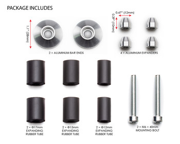 "Bar End Weights CNC Billet Aluminium - Silver for 22mm 7/8"" Handlebars"