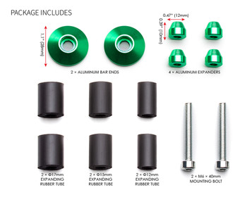 "Bar End Weights CNC Billet Aluminium - Green for 22mm 7/8"" Handlebars"
