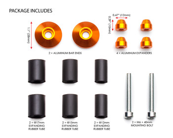 "Bar End Weights CNC Billet Aluminium - Orange for 22mm 7/8"" Handlebars"