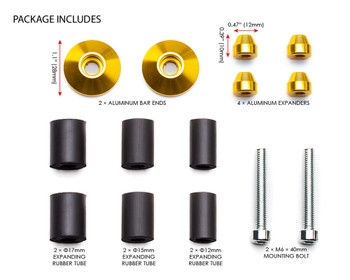 "Bar End Weights CNC Billet Aluminium - Gold for 22mm 7/8"" Handlebars"