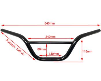 """Black Handlebars for Monkey Bike Pit Bike - 22mm 7/8"""" with 4.5"""" Rise"""