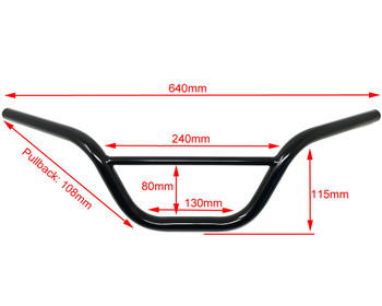 "Black Handlebars for Monkey Bike Pit Bike - 22mm 7/8"" with 4.5"" Rise"
