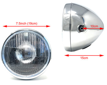 "Retro 7.5"" 55W Headlight in Custom Chrome for Project Bike"