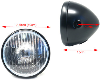 "Retro 7.5"" 55W Headlight in Black for Project Bike"