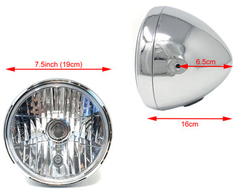 "Retro 7.5"" Headlight 55W with Slim Halo Ring - Chrome - Homologated"
